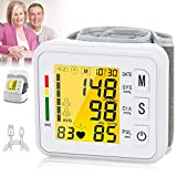 Topffy Blood Pressure Monitor,Automatic BP Machine Wrist Digital BP Cuff 99 * 2 Reading Memory Large Tri-Backlit Wrist Blood Pressure Monitor Rechargeable Pulse Rate Monitoring Meter for Home Use