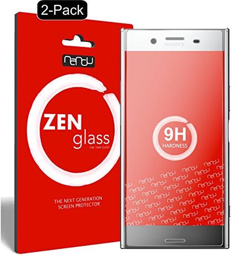 nandu I ZenGlass [2 Pezzi] Pellicola Protettiva in Vetro Compatibile con Sony Xperia XZ Premium I Protezione Schermo 9H I (più Piccolo del Display Curvo)