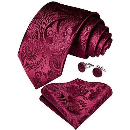 WOXHY Cravate Homme Ensemble de Cravate Rouge en Soie Solide Paisley Mariage Design Mouchoir Bouton de Manchette Cravate Ensemble Fashion Business