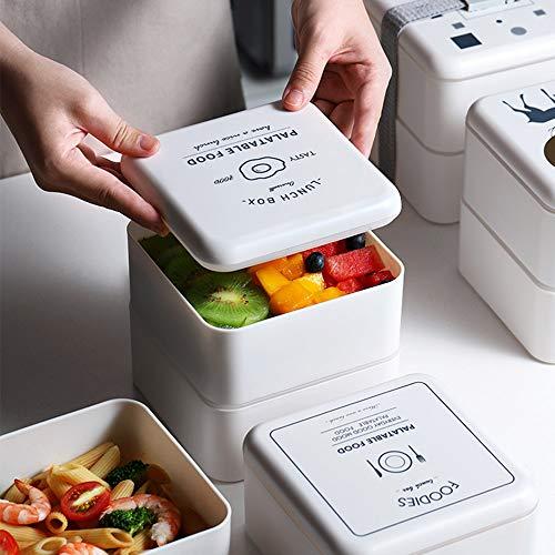Double-Layer Office Lekvrije Plastic Lunch Box, Magnetron Partitie Isolatie Student Volwassen Voedsel Met Servies Lunch Bag Lunch Box Set