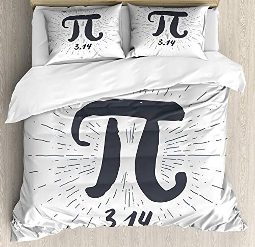 882 Pi Duvet Cover Set Super King Size, Hand Drawn Look Grunge Design Math Themed Number Icon with Lines Image, Decorative 3 Piece Bedding Set with 2 Pillow Shams, Coconut and Dark Blue Grey