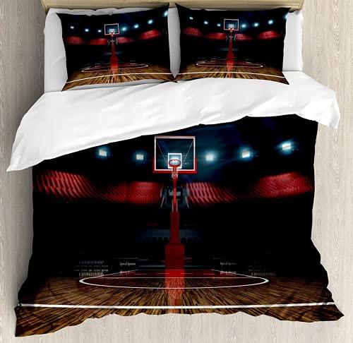 QWAS Juego de ropa de cama de baloncesto, 3 piezas, impresión 3D, ropa de cama, ropa de cama para niños, 1,200 x 200 cm + 80 x 80 cm x 2