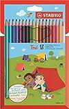STABILO Trio - Lápiz de color escolar triangular - Estuche de 18 colores