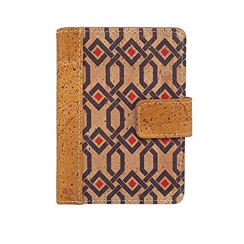Cartera de Mujer con Monedero, Billetera de Mujer, con Cremallera, Original de Corcho ecológico Portugués de diseño/Bloqueo de lectores RFID no deseados. (REF165)