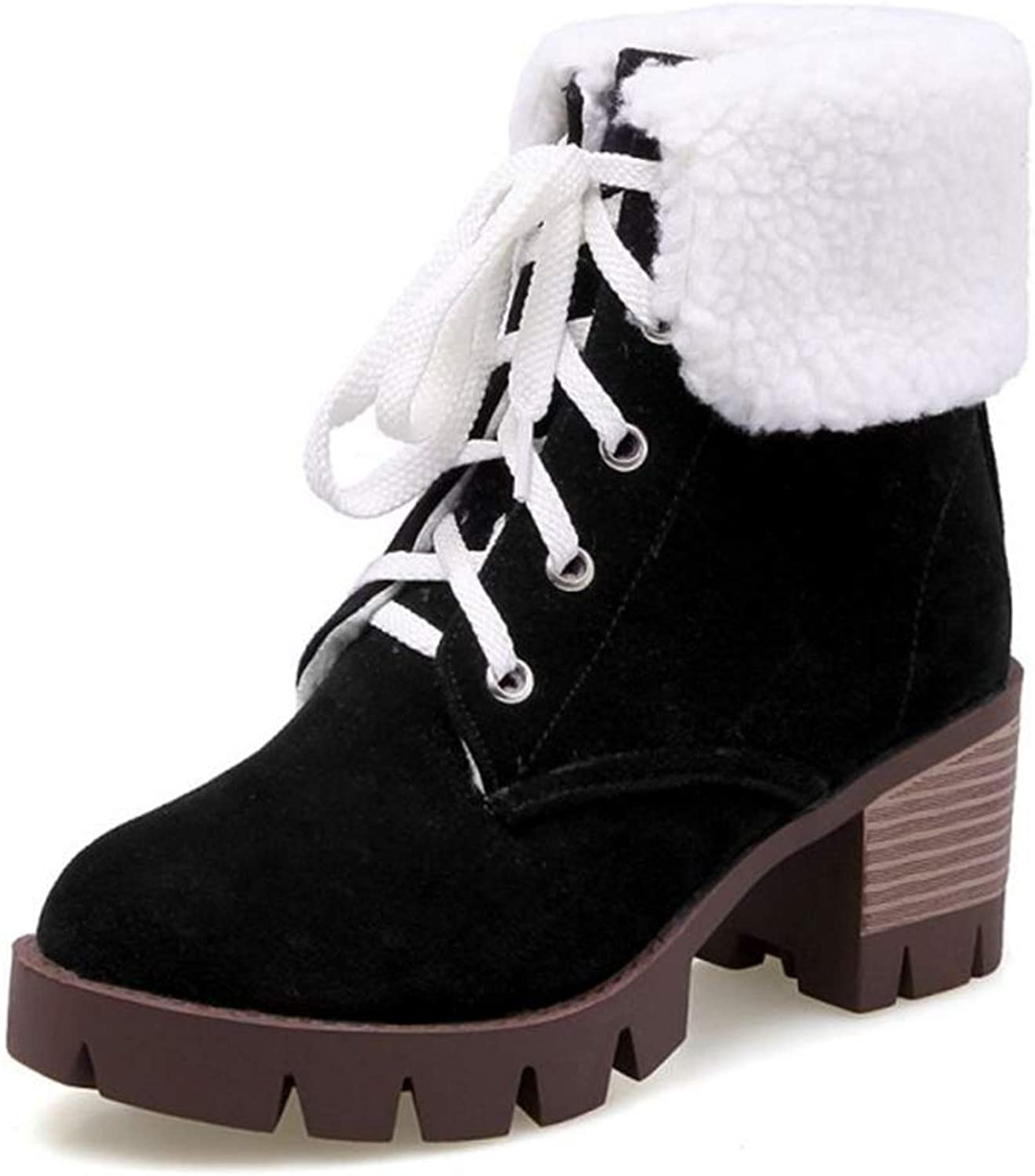 Cocey Women Ankle Martin Lace-up Boots Black