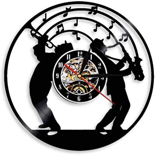 TIANZly Reloj de Pared con Disco de Vinilo con Tema Musical de saxofón, Reloj de Pared con Movimiento silencioso, música de Jazz, Sala de Estudio, músico, decoración de Pared