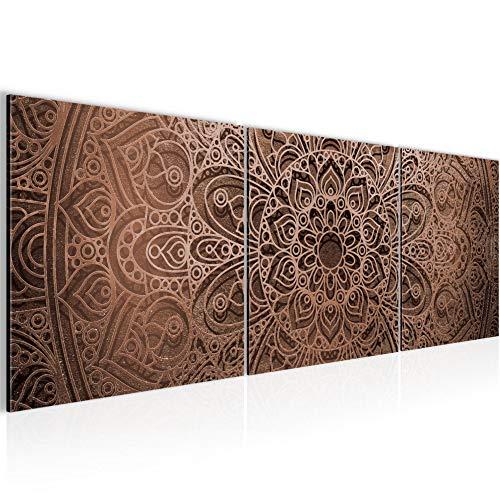 Runa Art - Bilder Mandala 120 x 40 cm Vlies Leinwandbild Beige Braun Mehrteilig Moderne Wanddeko 101233c
