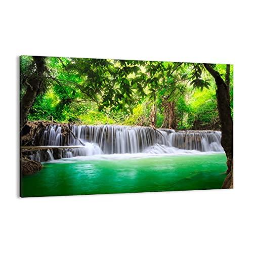 Quadro su tela - Elemento unico - Acqua parco natura paesaggio - 120x80cm - Pronto da appendere - Home Decor - Stampe su Tela - Quadri Moderni - completamente incorniciato - AA120x80-2502