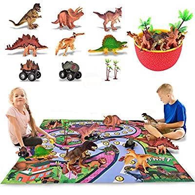 Cradream Dinosaur Toys Jurassic Park Toys Playset with Play Mat Rug Race Cars Trees and Rug, Preschool Learning Egg Jurassic Word Dinosaur Sets Gift for Kids Boys Girls Toddlers Age 2 3 4 5