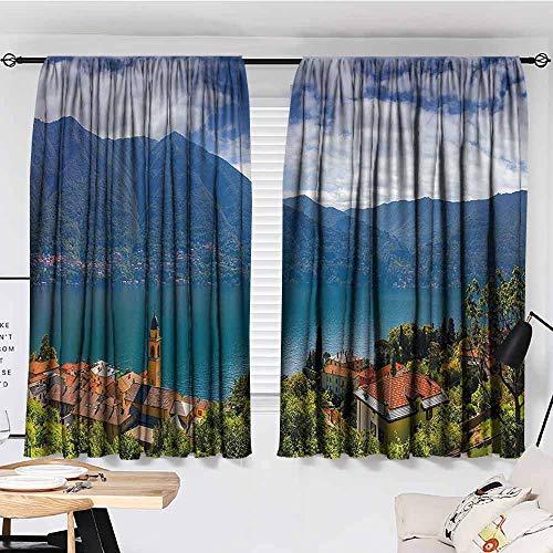 Curtains for Living Room, Modern, Mountain Village on the Hills Como Lake Italian Town European Mediterranean Scenery, Courtyard Porch Gazebo Decoration, 72'x63', Multicolor