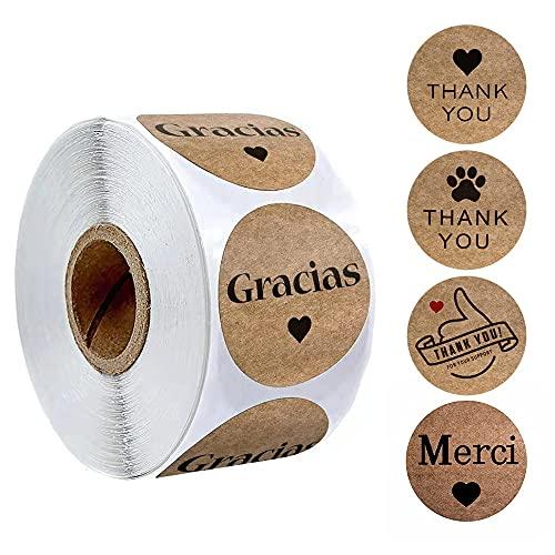 PMSMT 500 Piezas/Rollo de Papel Kraft español Gracias Gracias Etiquetas Adhesivas para el Sellado de Sobres decoración del Banquete de Boda Suministro de papelería