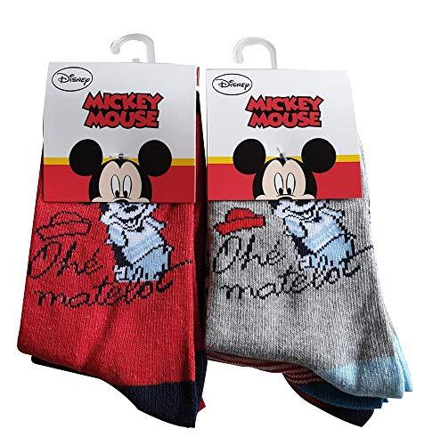 Disney Mickey Maus Ohe´ matelot 6er Pack Kinder Socken Rot/Grau für Jungen und Mädchen (27/30)
