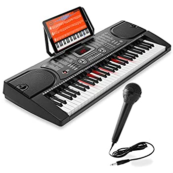 Hamzer 61-Key Electronic Keyboard Portable Digital Music Piano with Lighted Keys Microphone & Sticker Set