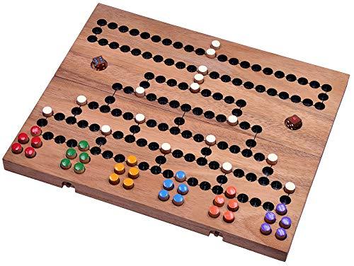 LOGOPLAY Blockade für 2 bis 6 Spieler - Würfelspiel - Strategiespiel - Gesellschaftsspiel - Brettspiel aus Holz mit klappbarem Spielbrett