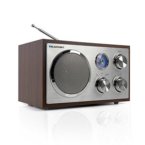 Blaupunkt RXN 19 WN Retro Radio, UKW/ FM Küchen-Radio, USB-Port 2.0, SD Kartenleser, einfache Bedienung, Nostalgie-Radio, Analog Tuner, Radio klein mit Kabel, Teleskopantenne, Holzgehäuse, Walnuss