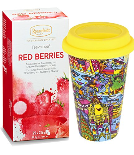 "Ronnefeldt Promopack – Teavelope ""Red Berries"" Früchtetee, 62,5 g inkl. To Go Becher aus Porzellan, 0,3 L"