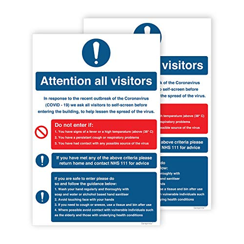 Pack of 2 Covid 19 Signage Attention All Visitors Self Adhesive Waterproof 200mm x 300mm V1196