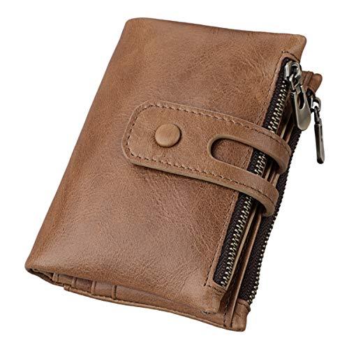 Herren Geldbörse mit RFID Schutz Echtleder Portemonnaie Für Männer Reißverschluss Brieftasche Braun
