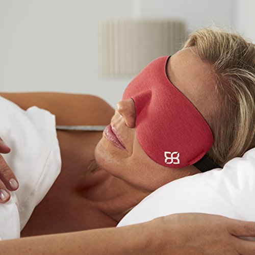 Bedtime Bliss Eye Mask for Sleeping | Sleep Mask for Men & Women. Our Luxury Blackout Masks are Adjustable, Contoured & Comfortable - Includes Carry Pouch and Ear Plugs -  Crimson Red