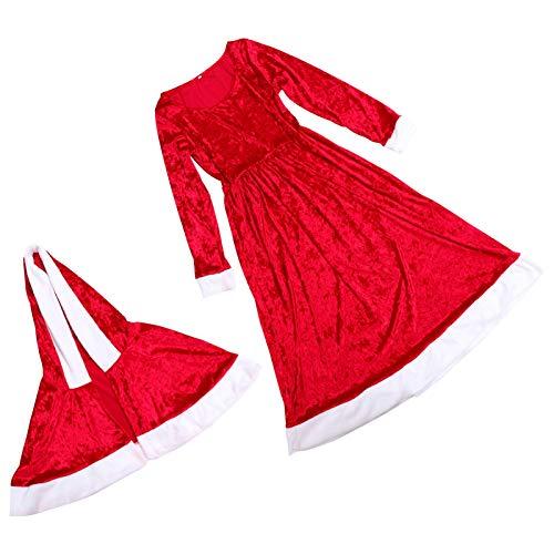 KESYOO 1 Set Navidad Mujer Santa Cloak Vestido de Manga Larga Niña Conjunto de Disfraces de Santa Claus Traje de Miss Santa Claus Señora Claus Disfraz de Cosplay de Navidad Ropa de