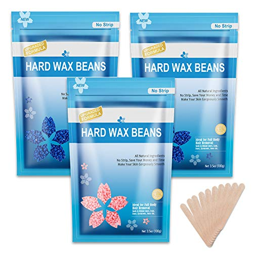 Wax Beads for Hair Removal 10.5Oz, Hard Wax Beans for Painless Hair Removal, For Facial, Eyebrow, Brazilian Bikini, At Home Waxing Beads Refill for Women Men(3 Packs)