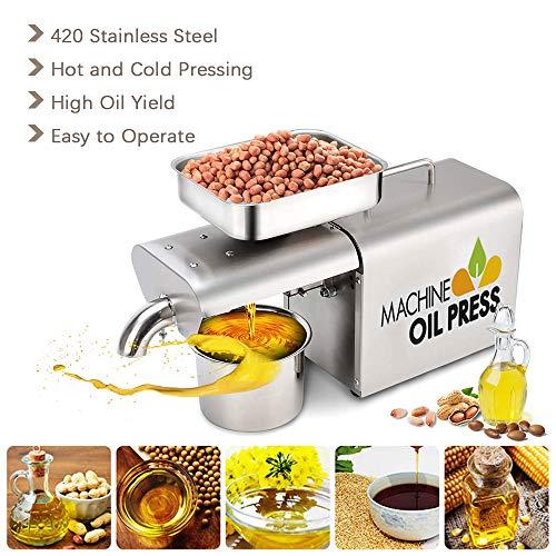 InLoveArts Máquina de prensa de aceite,Eléctrico Automático Frío/Caliente Comercial Extractor de prensa de aceite Extractor para Olive Flax Maní Cáñamo Semillas de cáñamo Canola (D03)