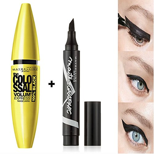 "Maybelline New York Maskaraset ""Colossal Volum' Express"" 100% schwarz und Eyeliner Master Graphic (2 Produkte)"