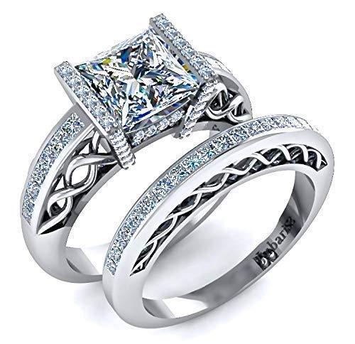 Unique Ring Set Princess Cut Bridal Set 2.85 TCW Simulated Diamond Engagement Band Set 7mm Diamond Engagement Ring With Wedding Band