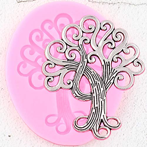 SKJH Life Tree Border Silicone Mold Cupcake Topper Fondant Molds Diy Cake Decorating Tools Candy Clay Chocolate Gumpaste Moulds