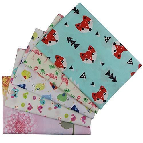 aufodara 5 Stück Patchwork Stoffe Stoffpakete 50 x 50cm Baumwolle Tuch DIY Handgefertigte Nähen Quilten Stoff Baumwollgewebe Farbmuster Verschiedene Designs (Bunt-B)