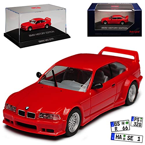 B-M-W 3er E36 M3 GTR Coupe Rot 1990-2000 H0 mit Sockel und Vitrine 1/87 Herpa Modell Auto