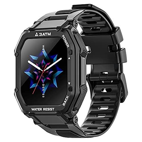 ZGZYL Reloj Al Aire Libre para Hombres 3Atm Impermeable, Reloj Inteligente para Hombres 1.69 Pulgadas, con Monitor De Frecuencia Cardíaca De Presión Arterial, Reloj De Actividades Deportivas,Negro