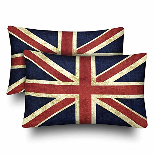 InterestPrint Retro Flag of England The Union Jack British Flag Pillow Cases Pillowcase Standard Size 20x30 Set of 2, Rectangle Pillow Covers Protector for Home Couch Sofa Bedding Decorative