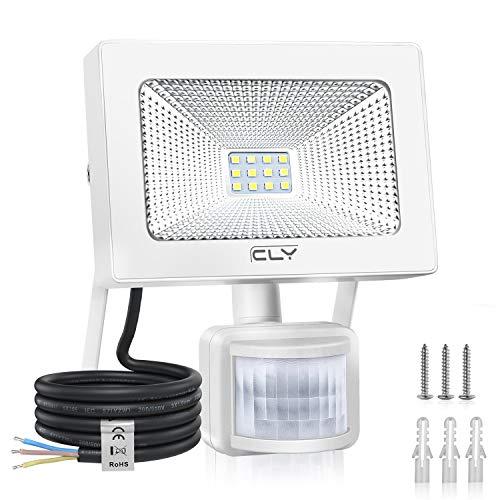 CLY LED Strahler mit Bewegungsmelder 10W,LED Scheinwerfer 1000LM IP66 Wasserdicht,LED Fluter Superhelle Sensorleuchten,Außenstrahler für Garten, Hinterhof, Garage, Türen [ Kaltes Weiß]