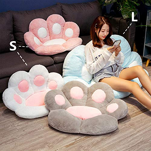 Cat Paw Cushion Cute Seat Cushion,Cat Paw Shape Lazy Sofa Bear Paw Chair Cushion Warm Floor Cushion for Dining Room Office Chair ,Funny Gifts for Kids (Grey, L-31.4x27.5in)