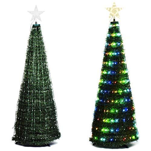 Wuudi Árbol de Navidad Árbol de Navidad artificial de PVC con luces LED multicolores y base para decoración navideña 120cm verde