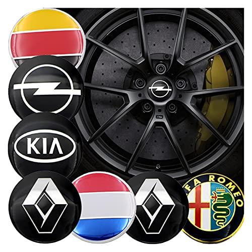 MTREW 4 adhesivos para tapacubos de 56 mm, compatibles con S Audi A4, S4, RS4, A6, TT A3, B5, B6, B7, B8, B9, Q3, Q5, Q7, Q8, C5, emblema de auto (estilo: azul para JP)