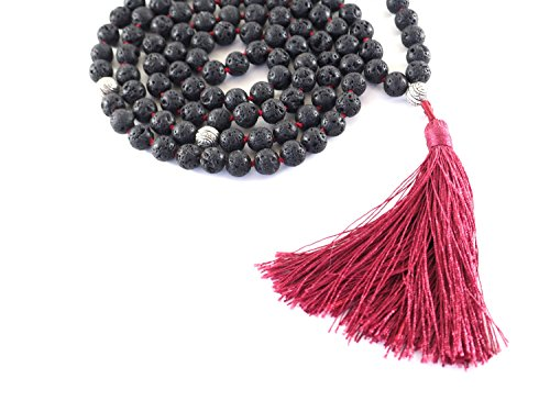 108 Stone Black Lava Rock Meditation Mala Prayer Japa Beads Necklace- Red Tassel Embodies Kundalini Energy