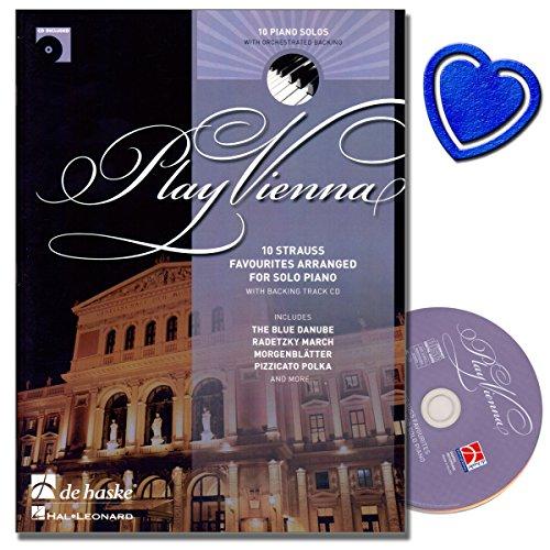 Play Vienna! Piano - Zehn bekannte Titel von Johann Strauss (Vater und Sohn) mit backing track CD - Klavier Noten [ An der schönen blauen Donau, Kaiserwalzer , Rosen aus dem Süden ] mit Notenklammer