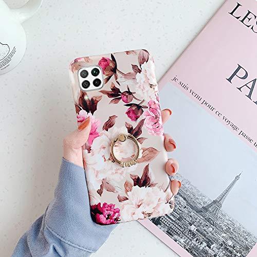 QPOLLY Kompatibel mit Huawei P40 Lite Hülle mit Glänzend Ring Ständer Bunt Blumen Muster Schutzhülle Ultra dünn Weiches TPU Silikon Stoßfest Handyhülle für Huawei P40 Lite,Blume