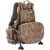 TIDEWE Turkey Vest with Seat, Hunting Vest with Game Pouch and Kickstand, Strut Camo Turkey Hunting Clothes for Men Women (Mossy Oak Bottomlan)