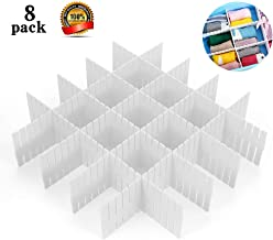 ShineMe Drawer Dividers 8pcs Adjustable Plastic Divider Household Storage Thickening Sub-Grid Finishing Shelves for Home Tidy Closet Stationary Makeup Socks Underwear Scarves Organizer (White)