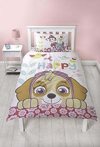 Paw Patrol Parure de lit Simple avec Housse de Couette réversible Happy Sky Double Face