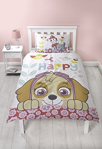 Paw Patrol Bright Single Duvet Cover Set | Happy Sky Two Sided Reversible Design
