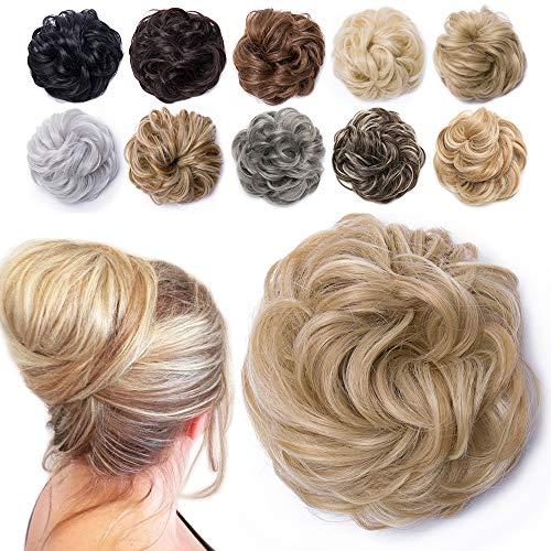 TESS Haarteil Dutt Blond mix Haargummi mit Haaren Gewellt Dicke Haarknoten Hochsteckfrisuren günstig Haarverlängerung Extensions für Damen 40g Ombre Hellgoldblond/Blond