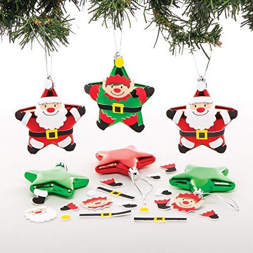 Baker Ross AT164 Weihnachtskugeln zum Dekorieren und Aufhängen von Weihnachtsbaum, 12 Stück, Sortiert
