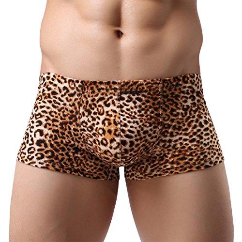 AIEOE Herren Boxershortse Unterhose Unterwäsche Retroshorts Leopard Muster Brief Gelb XL=EU M-L