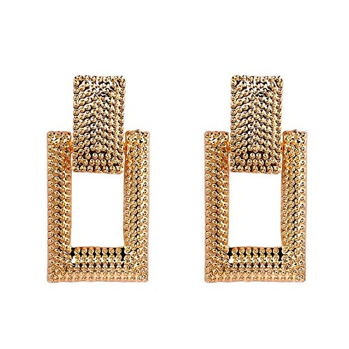 jiao Fashion Geometric Earring For Women Gold Color Meatal Jewelry Exaggeration Big Long Rectangle Statement Earring AsThePicture