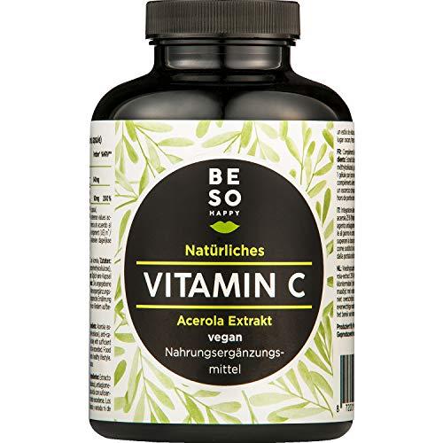 Vitamine C Naturelle BeSoHappy® à Partir d'un Extrait d'acérola (180 Capsules Pendant 6 Mois) - Ingrédients de Haute Qualité et très Efficaces - Testé en Laboratoire et Approuvé en Allemagne | Végan