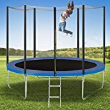 Trampoline for Kids 10 FT Outdoor Jumping-Bed with Enclosure Net Ladder, Round Recreational Indoor Trampolines Safety for Toddler Adult with Bouncing Mat Spring Pads Easy Assembly (Upgraded)